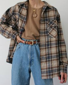 Indie Outfits, Teen Fashion Outfits, Retro Outfits, Fall Outfits, Vintage Outfits, Flannel Outfits, Fashion Women, Red Flannel, Fashion Fall