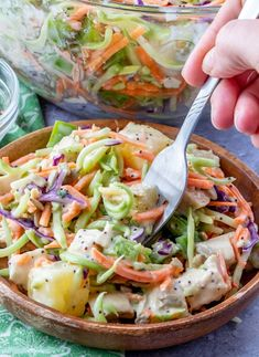 Crunchy Poppyseed Chicken Salad Recipe from Hot Eats and Cool Reads! This easy spring and summer salad is delicious, and perfect for any picnic, barbecue or lunch! Also great with turkey or ham if you're looking for ideas to use holiday leftovers! Summer Salads With Fruit, Summer Salad Recipes, Lunch Recipes, Healthy Recipes, Hot Chicken Salads, Chicken Salad Recipes, Pasta Recipes, Poppy Seed Chicken Salad Recipe, Grilled Peach Salad