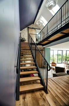 Recently completed by French architect Jean-Philippe Doré, House in Vexin is an inspiring project that connects three historic homes with a modern extension Modern Stairs, Modern Loft, Modern Industrial, Ultra Modern Homes, Escalier Design, Barn Renovation, Stair Steps, Modern Mansion, Winter House