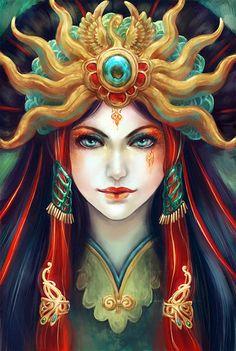 Empress by =vtas Digital Art / Drawings / Portraits =vtas Art And Illustration, Fantasy Characters, Female Characters, Character Inspiration, Character Design, Arte Sketchbook, L5r, Beautiful Artwork, Belle Photo