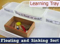 Floating and sinking is a fun science concept for children to explore. Setting up a Floating and Sinking Learning Tray will invite them to play, experiment and explore how and why different objects float and sink when placed into water. Science Week, Kindergarten Science, Science Lessons, Science For Kids, Science Projects, Science Experiments, Science Table, Teaching Activities, Craft Activities For Kids