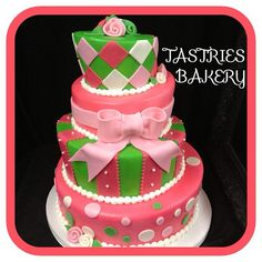 Amazing #pink and green #birthday cake with polka dots and a great big bow. Photo by @tastriesbakery