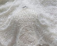 3D big flower lace fabric Luxury lace fabric Wedding   Etsy White Lace Fabric, Embroidered Lace Fabric, Sequin Fabric, Tulle Lace, Pearl And Lace, Wedding Fabric, Big Flowers, Bridal Lace, Sequins