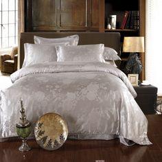 Fresh Fragrance Grey Jacquard Damask Luxury Bedding Duvet Cover Sets, Furniture, Bed, Home, Luxury Bedding, Luxury, Damask Bedding, Bedding Sets, Home Decor