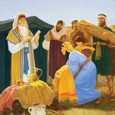 A painting by Gary L. Kapp showing the Israelites gathering donations of goods and clothing for building the Tabernacle.