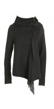 Anthracite Jersey Ruffle Front Jacket