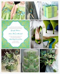 Green and Turquoise Inspiration Board #weddings