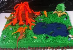 Dinosaur and volcano cake! Fun boy party