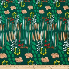 Art Gallery Meadow Summer Grove by Night from @fabricdotcom  Designed by Leah Duncan for Art Gallery Fabrics, this cotton print is perfect for quilting, apparel and home decor accents.  Colors include white, yellow, forest green, emerald, peach, light blue and orange-red.  Art Gallery Fabric features 200 thread count of finely woven cotton.
