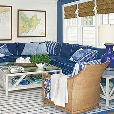 Nautical New England Beach House Blue Sectionalsectional Sofasnavy