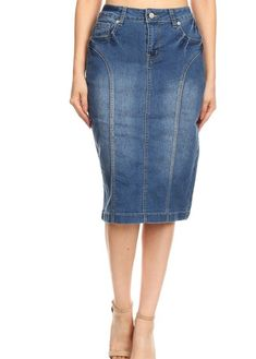 4c263bb072 Be-Girl brand - stretch denim knee-length pencil skirt in a relaxed fit  with a button/zipper closure, and pockets on the front and back, back length  cotton ...