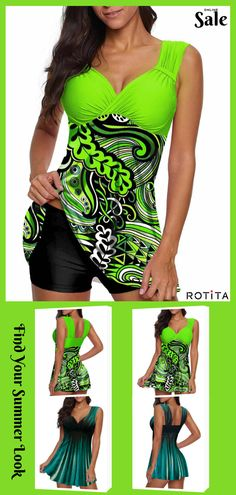 Colorful and joyful, these green swimsuits will definitly have you standing out from the beach crowd ! Classy Outfits, Boho Outfits, Pretty Outfits, Cute Outfits, Style Vert, Green Swimsuit, Bikini For Women, Winter Fashion Outfits, Women's Fashion