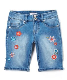 Take a look at this YMI Jeans Medium Floral-Accent Bermuda Shorts - Girls today!