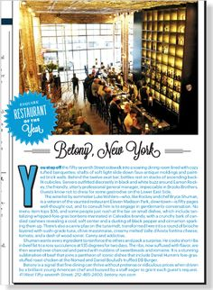 Betony, New York, Esquire restaurant of the year. Clipped from Esquire using Netpage.
