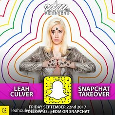 Credit to @leahculvermusic : Get ready for my EDM Snapchat Takeover Today and all weekend!! I'll be covering Imagine Festival all weekend! Catch my set today on the main stage at 7:15 PM