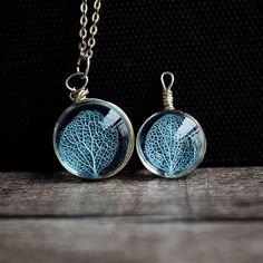 Blue flower petal vein necklace, flower petal, skeleton, glass, real flower , vintage, handmade, diy, original, limited, retro, natural