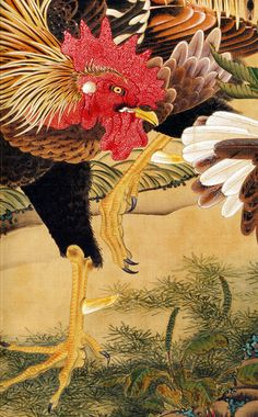 伊藤若冲. Detail of rooster painting.