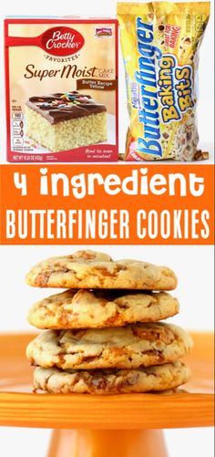 Just 4 ingredients including a butter yellow cake mix and you've got the most delicious dessert ever! Go grab the recipe and give them a try this week! New Year's Desserts, Cookie Desserts, Delicious Desserts, Dessert Recipes, Yummy Food, Easy Fun Desserts, Cake Mix Desserts, Thanksgiving Desserts Easy, Baking Cookies