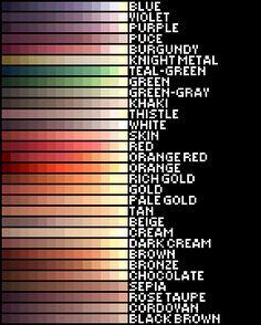 Ragnarok Online Color Palette by LoviPoe on DeviantArt Skin Color Palette, Palette Art, Color Palettes, Digital Art Tutorial, Digital Painting Tutorials, Arte 8 Bits, Color Palette Challenge, 3d Modelle, Online Coloring