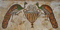 peacock mosaic in the Byzantine church in Nahariya.