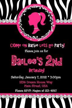 Barbie invitations | Barbie Silhouette Birthday Invitation Zebra by InvitestoDelight