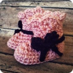 $14  Handmade Crochet Booties With a Bow