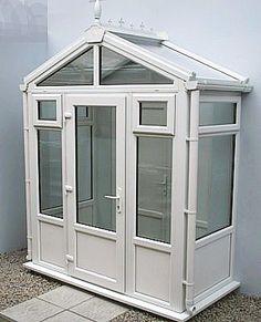 1.0m x 1.5m Gable Roof UPVC Porch Porch Styles, Roof Styles, Glass Porch, Glass Roof, Porch Designs Uk, Upvc Porches, Front Porches, Porch Gable, Porch Roof