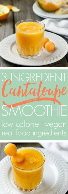 Start the day with a light, refreshing cantaloupe smoothie! 3-ingredient simple, real food delicious.