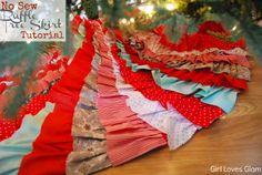 No Sew Ruffle Tree Skirt Tutorial #girllovesglam #christmas #diy #decor