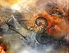 Expériments with texture. Ammonite work in progress Ammonite, Fossil, Abstract Art, Deviantart, Graphic Design, Texture, Gallery, Paintings, Watercolor Painting