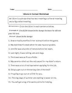 Idioms Worksheet   Worksheets, Language arts and Teaching vocabulary