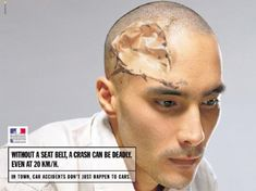 This visual metaphor was a good comparison between the reality and what people really think. By making changes to the physical attributes of a persons head and manipulating it to appear like paper their is a real emphasises on the fragile state of a skull in a car crash. by using he metaphor of paper it communicates the fragility and vulnerable nature of the skull.