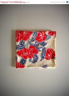 Vintage Linen Tablecloth Red and Blue Rose by BetaGoods Etsy Vintage, Vintage Shops, Linen Tablecloth, Red And Blue, Repurposed, I Shop, Bleu Rose, Antiques, Floral