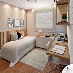 Wonderful room + home office ❤️! 📐Projet Authorship – Wonderful room + home office ❤️! Home Office Bedroom, Guest Room Office, Small Room Bedroom, Home Office Decor, Modern Bedroom, Bedroom Decor, Home Decor, Trendy Bedroom, Office Ideas