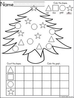 This is a Christmas tree themed activity for your Kindergarten students to practice shapes and graphing. It is a wonderful math activity for any winter month. FREE by Prek Summergrove Preschool Christmas, Kindergarten Classroom, Kindergarten Activities, Christmas Worksheets Kindergarten, Graphing Activities, Shape Activities, Theme Noel, Christmas Activities, Christmas Tree