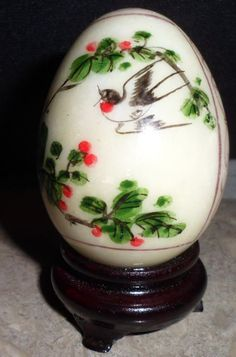 "Hand Painted Oriental Bird Designed Marble Egg Curio Display 2"" Egg Signed Stand"