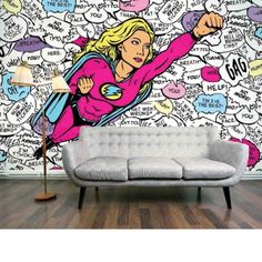 Superwoman Mural (Superwoman) - Digetex Wallpapers - Modern Pop Art image of a flying Super Woman character with…