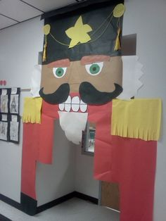 We are having a door contest at our school again this year. I made this oversized nutcracker which actually turned out. My students love going under it to get in the classroom! Christmas Classroom Door, Office Christmas Decorations, School Decorations, Christmas Concert, Christmas Time, Christmas Crafts, Nutcracker Crafts, Nutcracker Christmas, Hallway Decorating