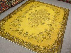 Vintage Oushak Handmade Pale YELLOW Color Overdyed RUG Soft Pastel patterned rug