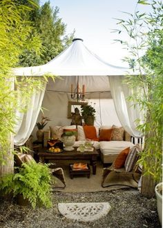 "Imagine walking around a corner in  Your Garden & into this Funky Tent  For Relaxation & Total Bliss  Includes ""VIP Tents Service"""