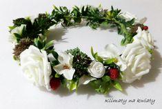 Wianek ślub, wesele - biel, zieleń, czerwień