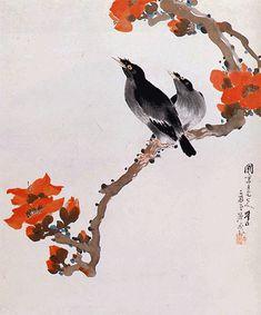 Crow, flower - by Lingnan Master Ju Lian (1828-1904), China