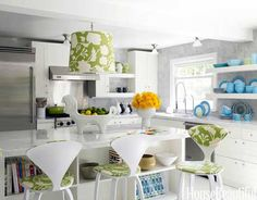 white and green kitchen- Maternity Wear Designer Liz Lange's  Love the fun colors.. Designer Jonathan Adler