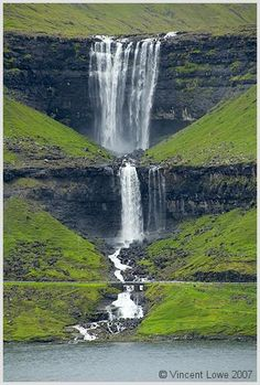 Fossá waterfall. This is the highest  waterfall in the Faroes Islands (near Denmark)