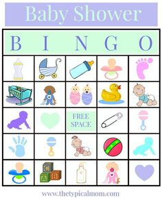 Baby Shower Bingo printable game to play at your next party! Lots of free baby shower printables like this, a word search, and more.