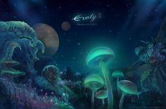 Mushroom Valley by ~Evaty (deviantart) Fantasy Landscape, Fantasy Art, Mushroom Cloud, Fantasy Places, User Profile, Vintage Prints, Wonderful Places, Illustrators, Northern Lights
