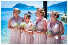 Pastel pink dresses and gorgeous gypsophila bouquet