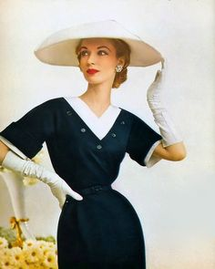 1952 Janet Randy in dress from Christian Dior's New York Collection, Enka Rayon ad, Harper's Bazaar