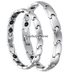 Anti-fatigue Health Magnetic Therapy Stainless Steel Link Bracelet Couple Bangle #UnbrandedGeneric #Magnetic