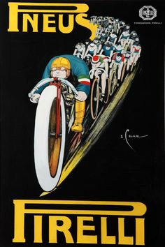 After we shared the beautifully quirky vintage animated ad for Pirelli we've had a few requests to share more of the same. So here are some print ads Pirelli commissioned for their various product lines. Bike Poster, Motorcycle Posters, Poster S, Vintage Italian Posters, Pub Vintage, Retro Poster, Poster Vintage, Retro Ads, Bike Illustration